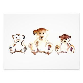 The 3 Teddy Bears Watercolour Art Photo Print