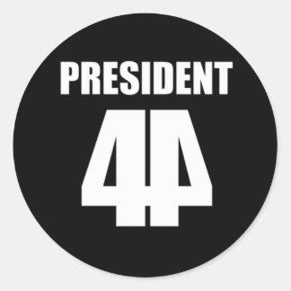 The 44th President White on Black Round Sticker