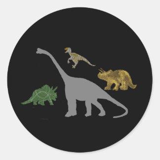 The 4 Dinos Round Sticker