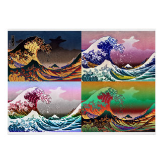 The 4 great waves of Kanagawa Poster