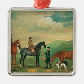 The 4th Lord Craven coursing at Ashdown Park Silver-Colored Square Decoration