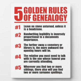 The 5 Golden Rules of Genealogy Plaque