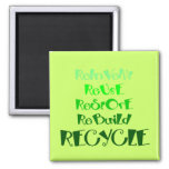 The 5 R's of Recycling Square Magnet