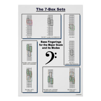 The 7-Box Sets Bass Fingerings for Major Scale Poster