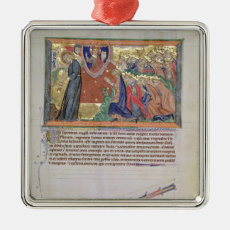 The 7th angel blowing his trumpet Silver-Colored square decoration