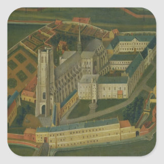 The Abbey of Saint-Bertin at Saint-Omer, 1776 Square Sticker
