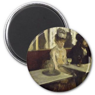 The Absinthe Drinker or L'Absinthe by Edgar Degas 6 Cm Round Magnet