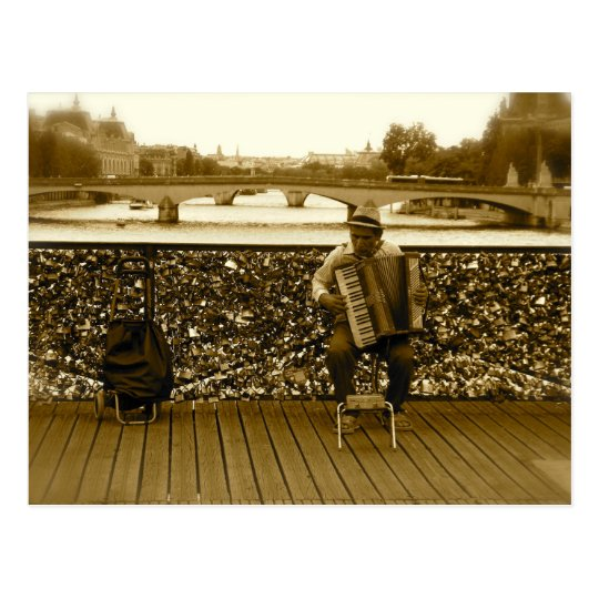 The Accordion Player - Pont des Arts, Paris Postcard