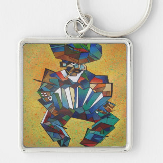The Accordionist Silver-Colored Square Key Ring