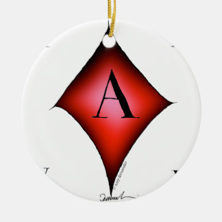 The Ace of Diamonds by Tony Fernandes Round Ceramic Decoration