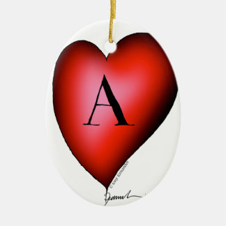The Ace of Hearts by Tony Fernandes Ceramic Oval Decoration