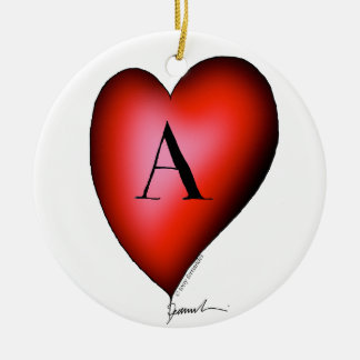 The Ace of Hearts by Tony Fernandes Round Ceramic Decoration