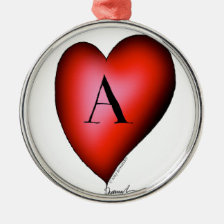 The Ace of Hearts by Tony Fernandes Silver-Colored Round Decoration