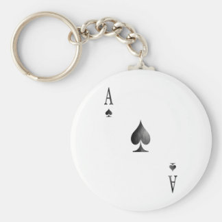 The Ace of Spades Basic Round Button Key Ring