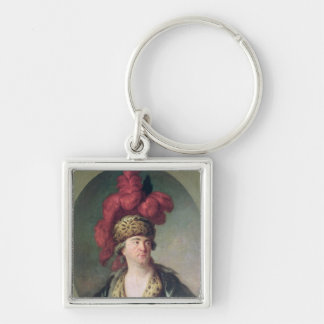 The Actor Lekain in the Role of Genghis Khan Silver-Colored Square Key Ring