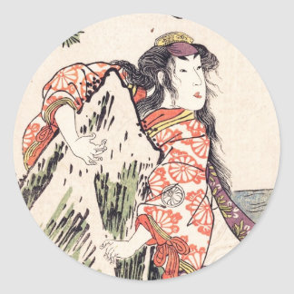 The Actor Segawa Kikunojo III in a Female Role Round Sticker