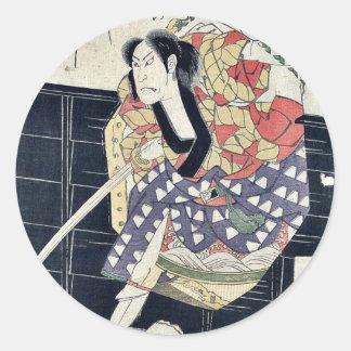 The actor Shinsho (nickname) by Shunkosai, Hokushu Round Stickers