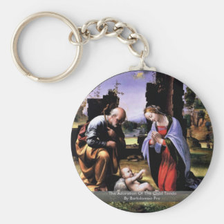 The Adoration Of The Child Tondo By Bartolomeo Fra Key Chains