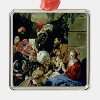 The Adoration of the Kings, 1612 Silver-Colored Square Decoration