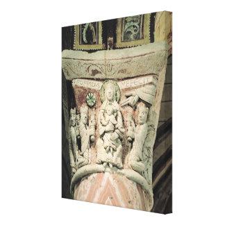 The Adoration of the Magi, column capital (stone) Canvas Print