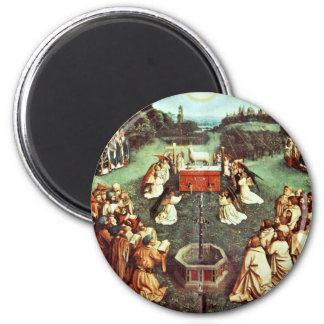 The Adoration Of The Mystical Lamb By Eyck Hubert 6 Cm Round Magnet