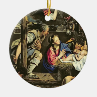 The Adoration of the Shepherds, 1612 (oil on canva Christmas Ornament