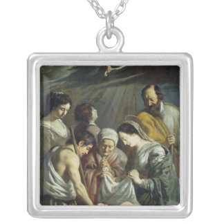 The Adoration of the Shepherds, c.1630-32 Silver Plated Necklace