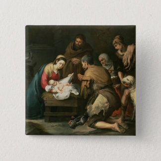 The Adoration of the Shepherds, c.1650 15 Cm Square Badge