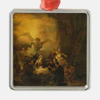 The Adoration of the Shepherds, c.1650 Silver-Colored Square Decoration