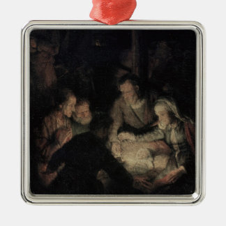 The Adoration of the Shepherds, detail, 1646 Silver-Colored Square Decoration
