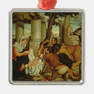 The Adoration of the Shepherds Silver-Colored Square Decoration