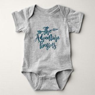 The Adventure Begins Blue Watercolor Baby Onsie Baby Bodysuit