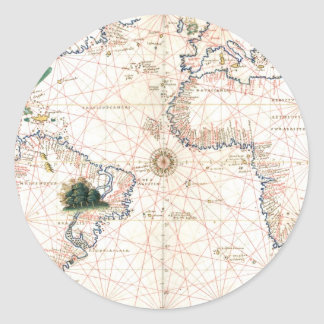 The Agnese Atlantic Chart Round Sticker