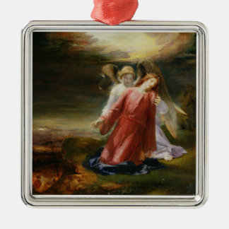 The Agony in the Garden, 1858 (oil on panel) Silver-Colored Square Decoration