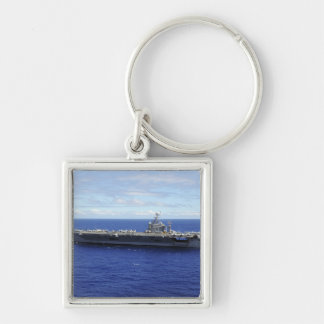The aircraft carrier USS Abraham Lincoln 2 Silver-Colored Square Key Ring