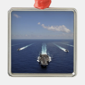 The aircraft carrier USS Abraham Lincoln Silver-Colored Square Decoration
