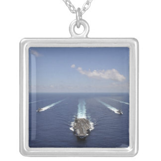 The aircraft carrier USS Abraham Lincoln Silver Plated Necklace
