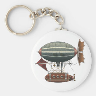 The Airship Aleutian Steampunk Flying Machine Basic Round Button Key Ring