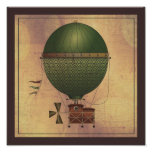 The Airship Citronnier Steampunk Flying Machine Poster