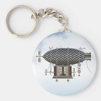 The Airship Petite Noir Steampunk Flying Machine Basic Round Button Key Ring