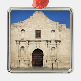 The Alamo Mission in modern day San Antonio, 3 Silver-Colored Square Decoration