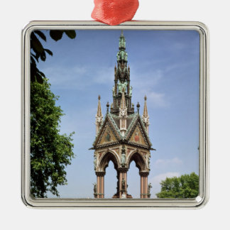 The Albert Memorial from the Albert Hall Silver-Colored Square Decoration