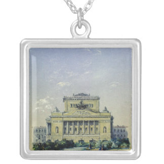 The Alexander Theatre in St. Petersburg, 1841 Silver Plated Necklace