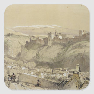 The Alhambra from the Albay, from 'Sketches and Dr Square Sticker