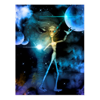 The alien in the universe postcard