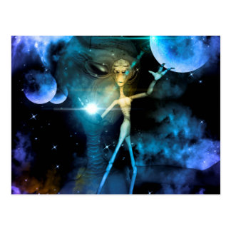 The alien in the universe post card