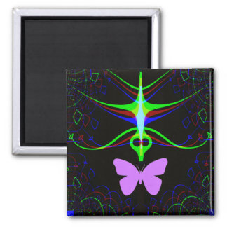 The Alien meets the butterfly.... Square Magnet