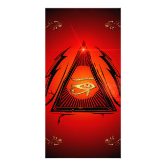 The all seeing eye  with floral elements personalised photo card