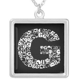 The Alphabet Letter G Square Pendant Necklace