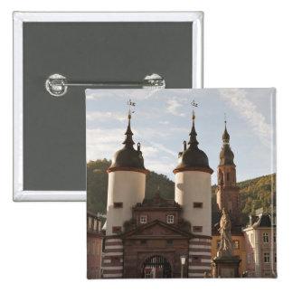 The Alte Brucke in Old Town, Heidelberg, Germany 15 Cm Square Badge